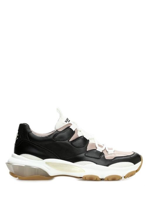 Pudra Siyah Dokulu Kadın Deri Sneaker