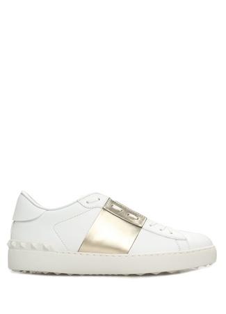 Valentino Garavani Kadın Open Beyaz Gold Şerit Detaylı Deri Sneaker Altın Rengi 40 EU female
