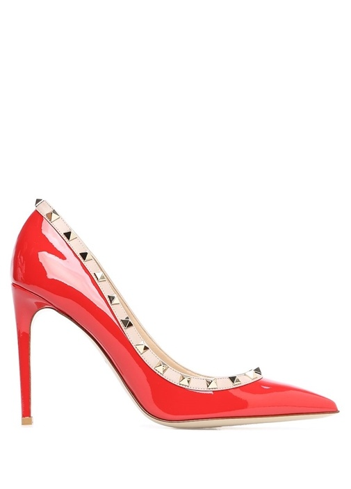 Rockstud Kırmızı Bej Rugan Stiletto