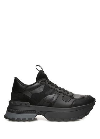 Valentino Garavani Kadın Rockrunner Siyah Kamuflajlı Deri Sneaker 40 EU