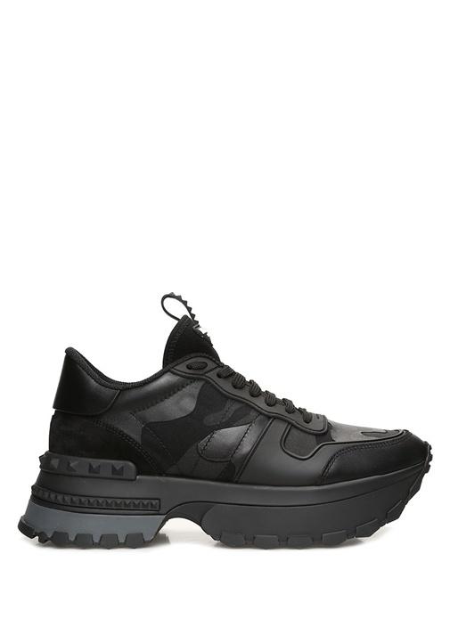 Rockrunner Siyah Kamuflajlı Kadın Deri Sneaker