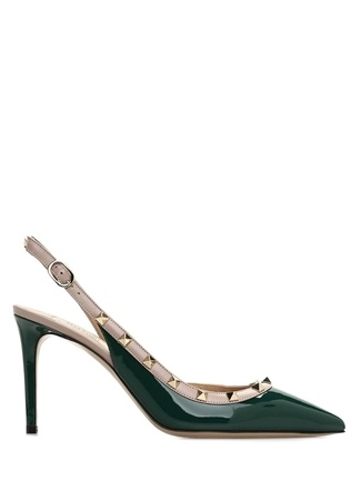 Valentino Garavani Kadın Rockstud Yeşil Bej Deri Topuklu Sandalet 38 EU female