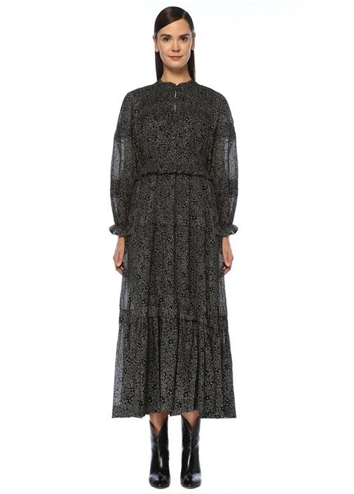 Likoya Siyah Çiçekli Fırfır Detaylı Midi Elbise