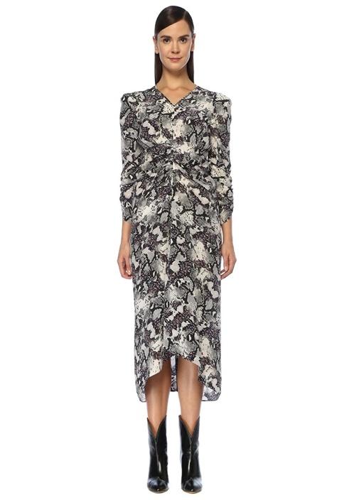 Albi V Yaka Yılan Desenli Büzgülü Midi Elbise