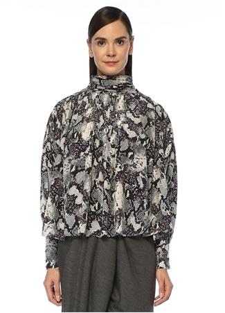 Cecilie Dik Yaka Yılan Desenli Pileli İpek Bluz