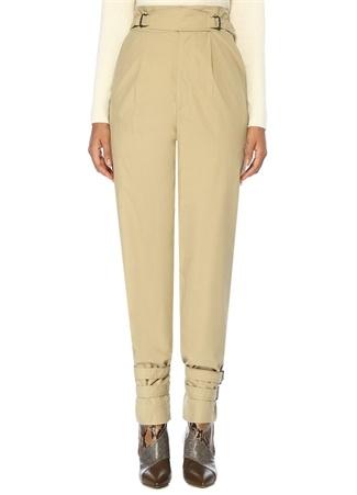 Pierce Bej Yüksek Bel Kemer Detaylı Pantolon