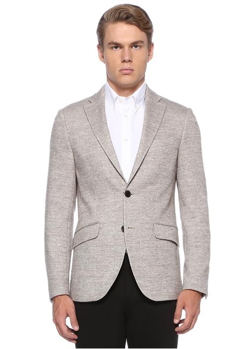 Regular Fit Bej Kazayağı Desenli Ceket
