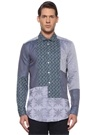 Comfort Fit Mavi İngiliz Yaka Mikro Desenli Gömlek