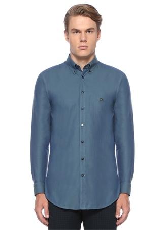Slim Fit Mavi Logo Nakışlı Düğmeli YakaGömlek