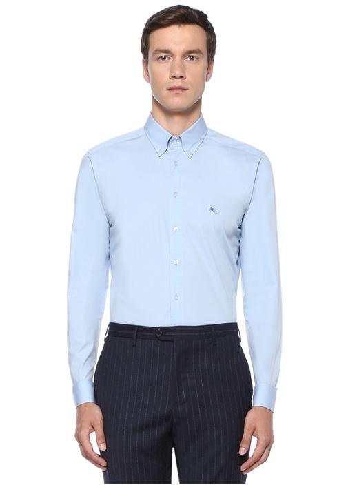 Mavi Düğmeli Yaka Logo Nakışlı Gömlek