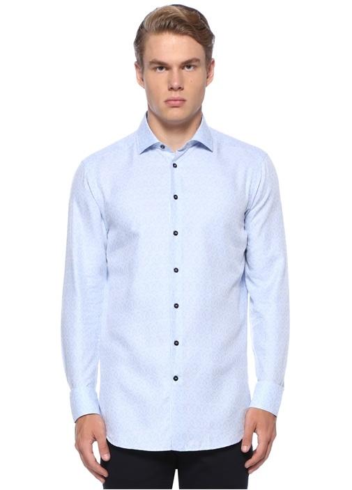 Mavi İngiliz Yaka Mikro Logo Baskılı Gömlek