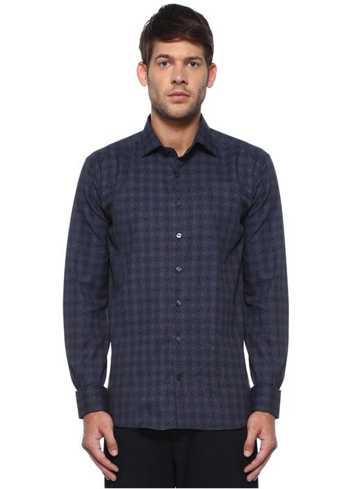 Lacivert Modern Yaka Geometrik Desenli Gömlek
