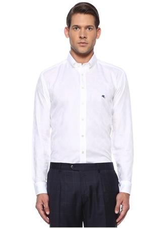 Etro Erkek Regular Fit Düğmeli Yaka Etnik Desenli Gömlek Beyaz 43 IT male