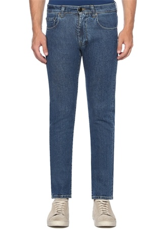 Slim Fit Mavi Normal Bel İşlemeli Jean Pantolon