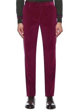 Slim Fit Mor Çizgi Oluklu Kadife Pantolon