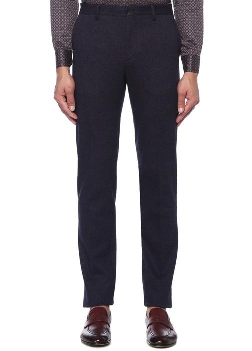 Slim Fit Lacivert Kazayağı Desenli Pantolon