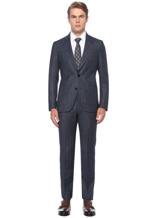 Regular Fit Lacivert Çizgili Yün Takım Elbise