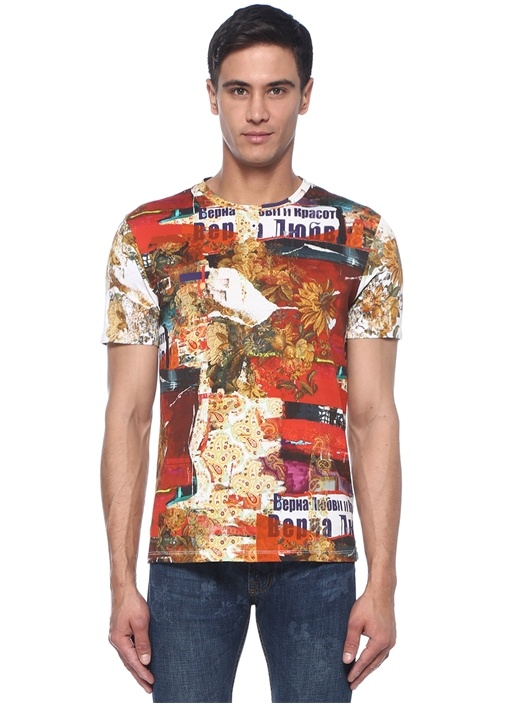 Colorblocked Karışık Baskılı T-shirt