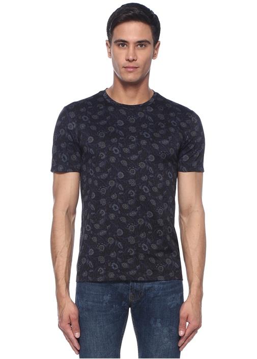 Siyah Lacivert Karışık Baskılı Basic T-shirt