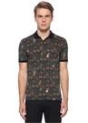 Lacivert Polo Yaka Çiçek Desenli T-shirt