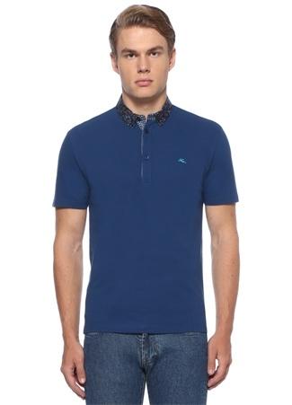 Mavi Yakası Etnik Desenli Dokulu T-shirt