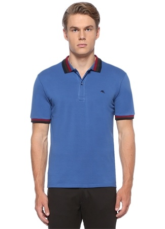 Mavi Yakası Renkli Şeritli Dokulu T-shirt