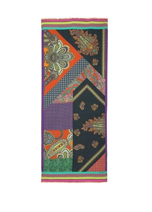 Colorblocked Etnik Desenli Erkek Yün Atkı