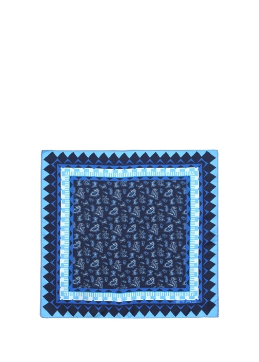 Mavi Şal Geometrik Desenli İpek Poşet Mendil
