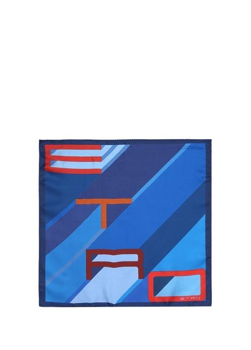 Mavi Çizgi Desenli Logolu İpek Poşet Mendil