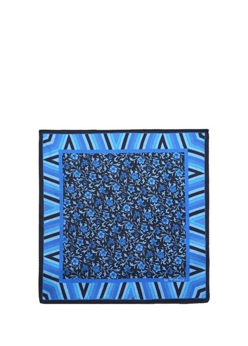 Mavi Çiçek Desenli Çizgili İpek Poşet Mendil
