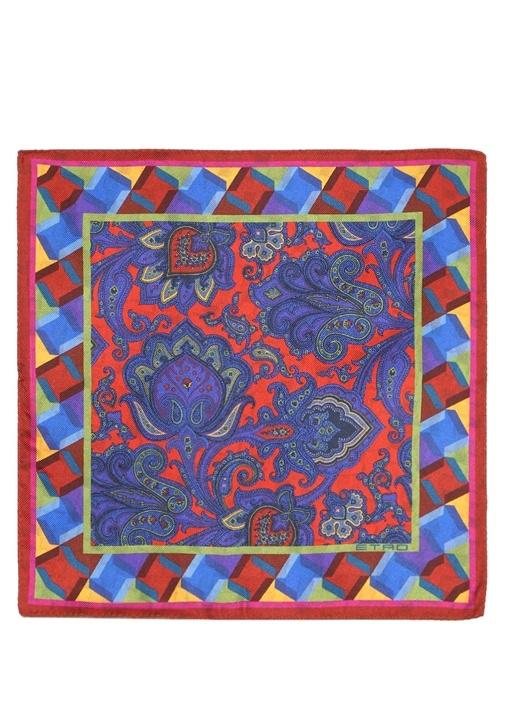 Colorblocked Etnik Desenli İpek Poşet Mendil