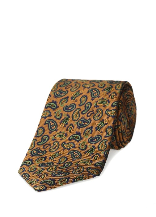 Turuncu Mikro Şal Desenli İpek Kravat
