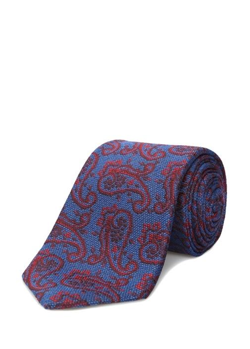 Mavi Şal Desenli İpek Kravat