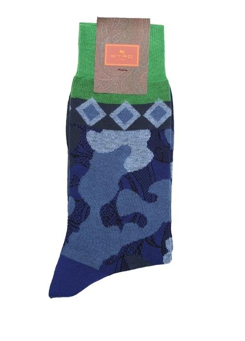 Lacivert Kamuflaj Desenli Erkek Çorap
