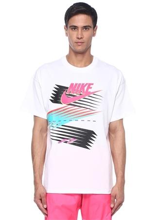34883cc009d34 Beyaz Logo Baskılı Renk Detaylı Basic T-shirt