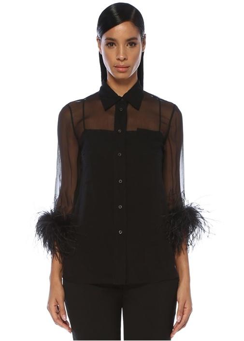 Siyah Kolu Tüy Detaylı İpek Şifon Gömlek