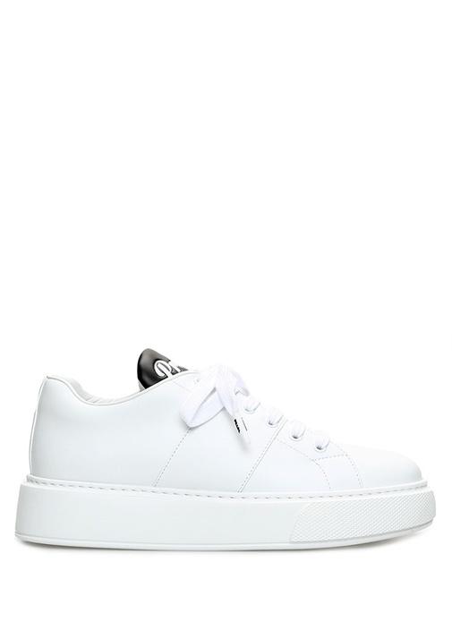 Beyaz Logolu Kalın Tabanlı Kadın Deri Sneaker