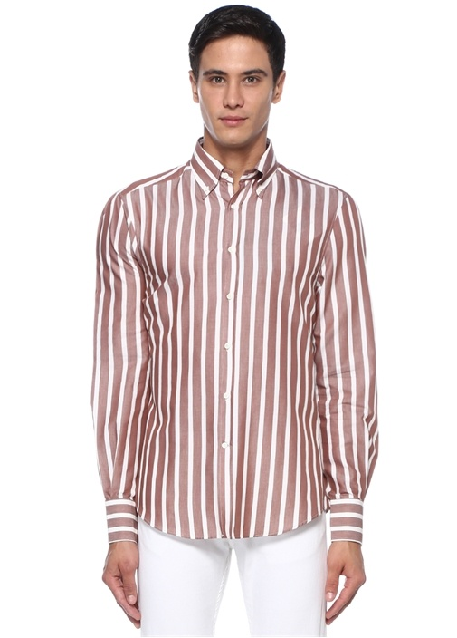 Slim Fit Bej Beyaz Düğmeli Yaka Çizgili Gömlek