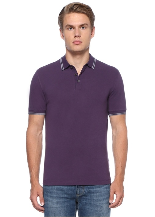 Regular Fit Mor Polo Yaka Logolu T-shirt