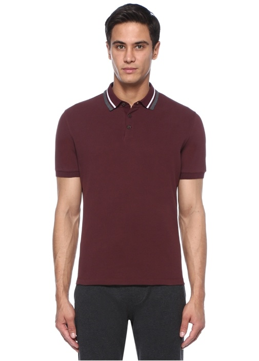 Regular Fit Bordo Gri Polo Yaka T-shirt