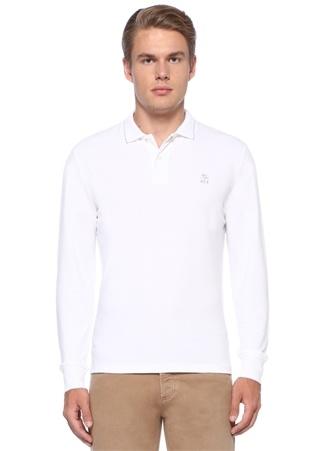 Regular Fit Beyaz Polo Yaka Logolu Sweatshirt