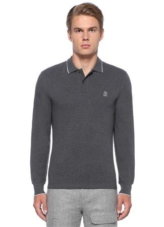 Regular Fit Gri Polo Yaka Logo İşlemeliSweatshirt