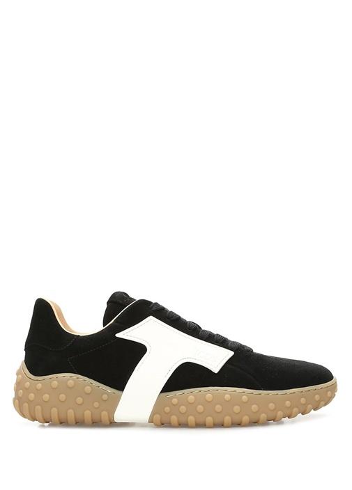 Tod's Siyah KADIN Siyah Beyaz Logolu Kadın Nubuk Sneaker