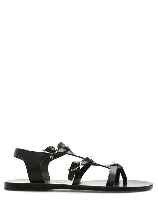 Grace Kelly Siyah Bant Detaylı Kadın Deri Sandalet