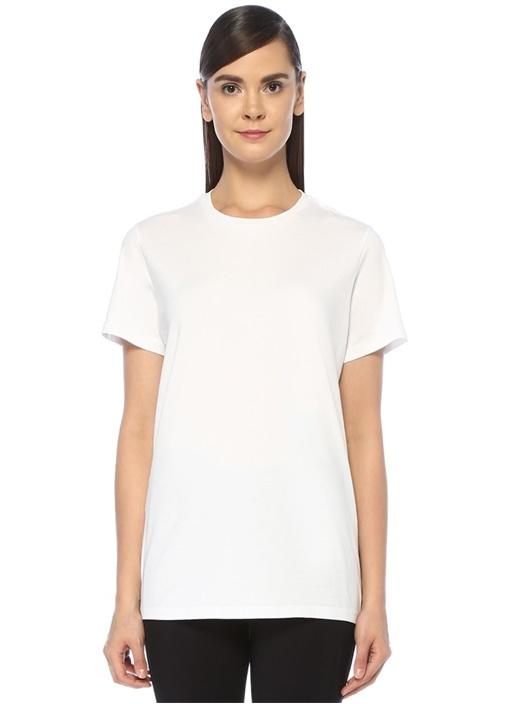 Girocollo Beyaz Arkası Logo Baskılı T-shirt