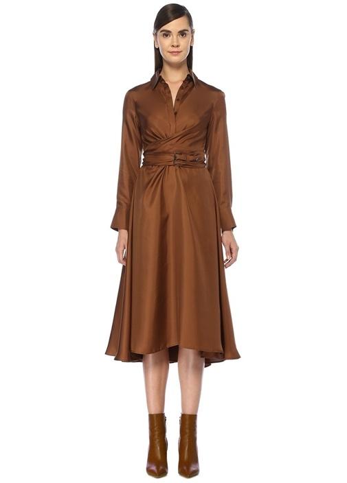 Kahverengi Beli Kemerli Midi İpek Gömlek Elbise