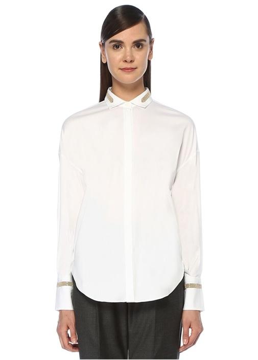 Beyaz Çizgili Zincir Şeritli Gömlek