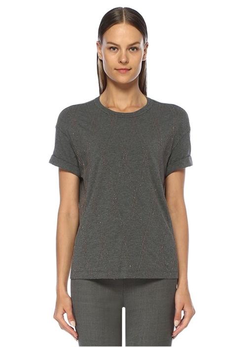Gri Zincir Şerit Detaylı T-shirt