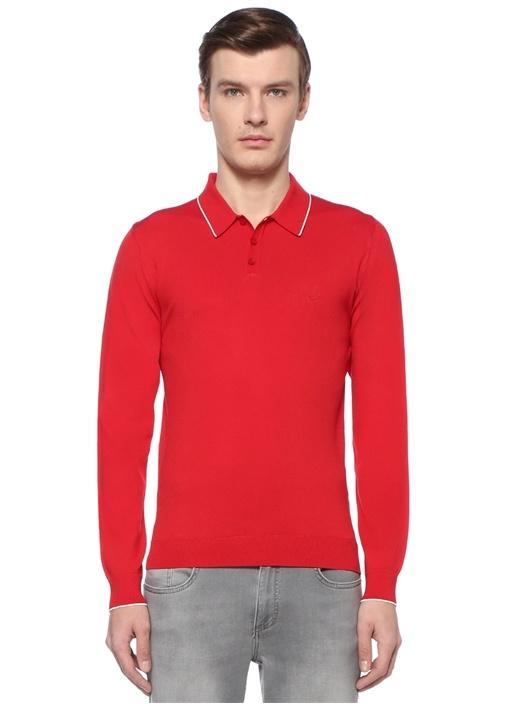 Kırmızı Polo Yaka Kontrast Şeritli Kazak