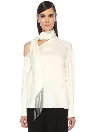 Beyaz Püsküllü Yaka Detaylı Asimetrik İpek Bluz